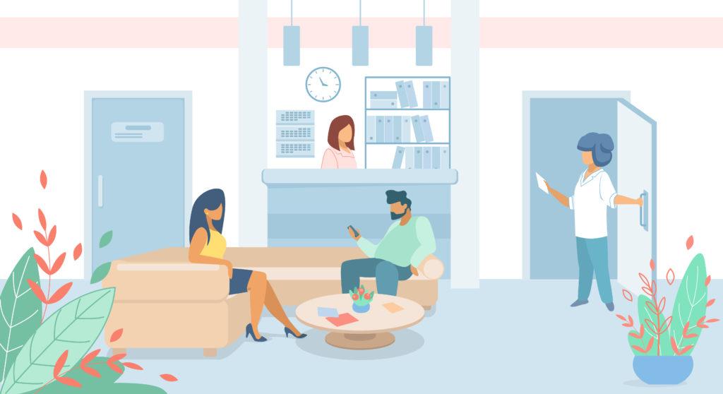 Patients et secrétaire dans une salle d'attente